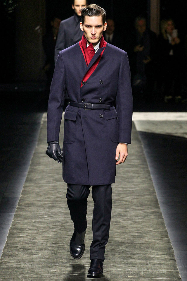 Brioni - Long coat with red detail